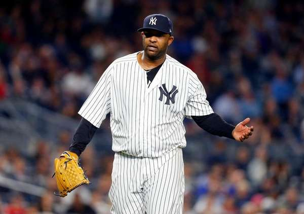 CC Sabathiaof the New York Yankees reacts after
