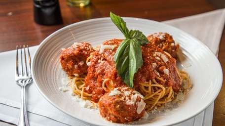 Spaghetti and all-beef meatballs at Emilio's of Commack.