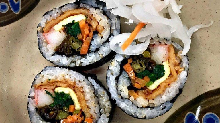 Bulgogi, spicy pork, fried shrimp, kimchee and vegetarian