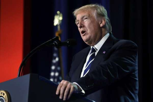 President Donald Trump speaks to a Faith and