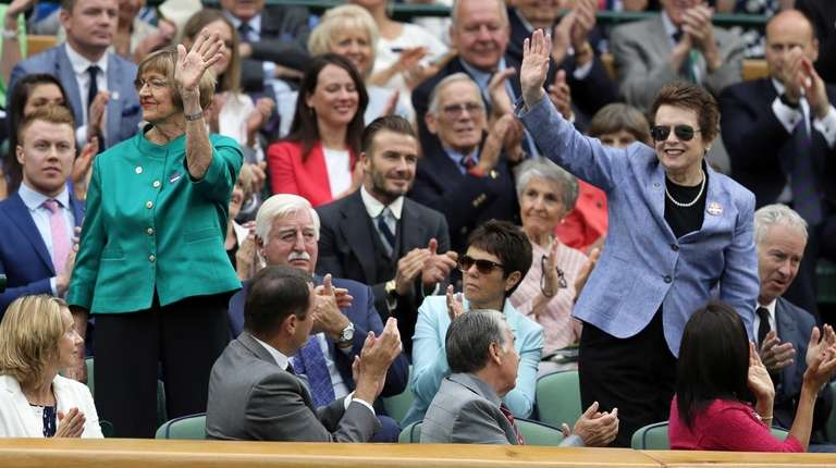 Former tennis greats Australia's Margaret Court, left, and