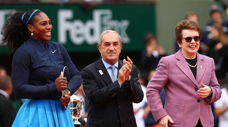 Serena Williams of the United States receives the
