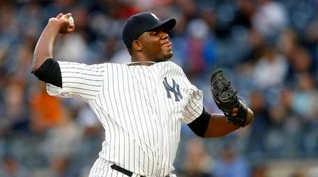 Michael Pineda of the Yankees pitches in the