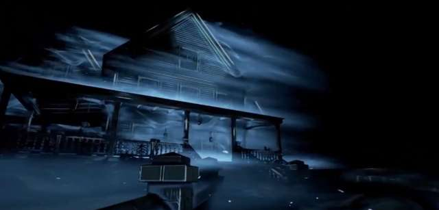 A sightless woman explores a dark house and