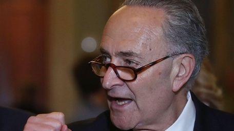 Sen. Chuck Schumer (D-N.Y.) speaks to the media