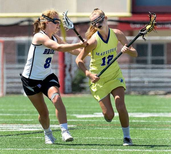 Mattituck-Southold's Mackenzie Hoeg, right, is defended by Bronxville's