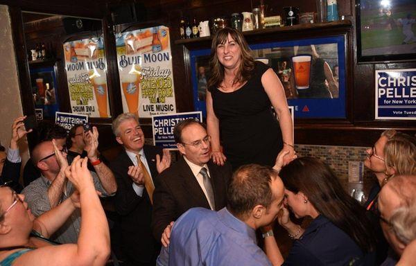 Democrat Christine Pellegrino celebrates after declaring victory in