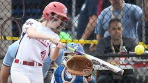 MacArthur's Ashley Budrewicz (4) bats against Maine-Endwell in