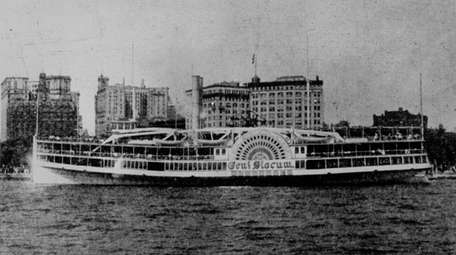 The steamship General Slocum, which caught fire during