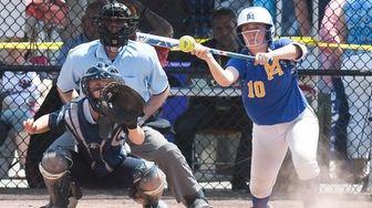 East Meadow Sara Polansky (10) bunts the ball