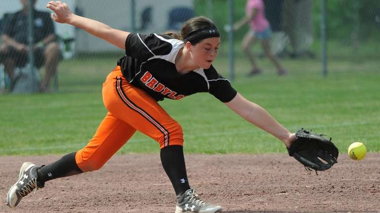 A base hit skips past Babylon's Danielle Donaldson