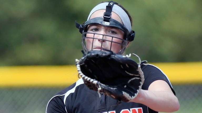 Allie Stanya pitches against Depew in state Class