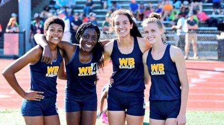 West Babylon girls 4x400 relay team, ( l-r)