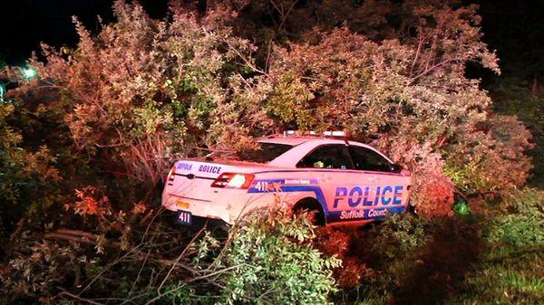 A Suffolk County police car came to a