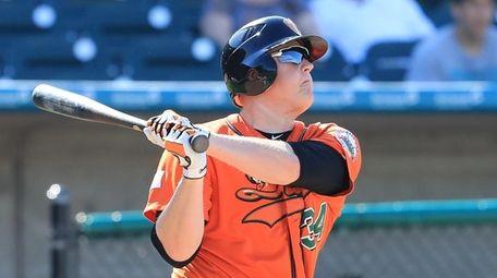 Ducks first baseman Marc Krauss #34 hits a