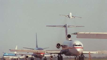 Commercial planes on a congested runway at JFK