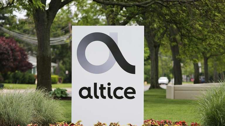 The Altice logo outside Altice USA's Bethpage headquarters