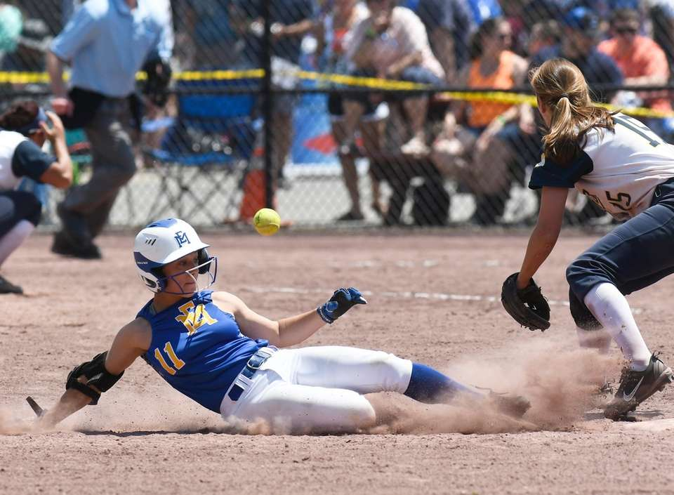 East Meadow's Jess Marsala slides safely into second