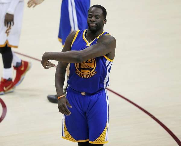 Golden State's Draymond Green reacts to a technical