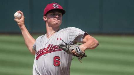 South Carolina pitcher Clarke Schmidt delivers during a