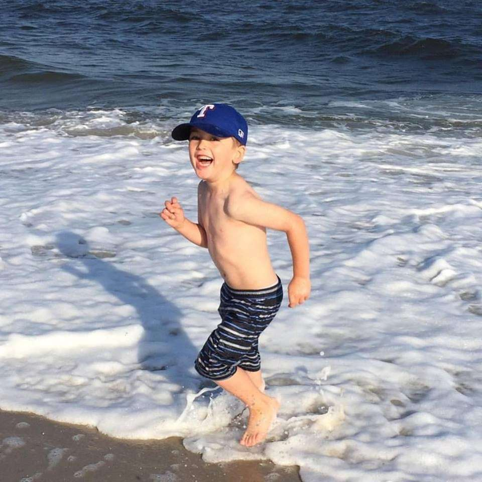 Jack Broderick, 5, hanging out at Cedar Beach