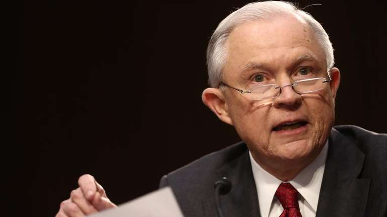 Attorney General Jeff Sessions speaks during a Senate