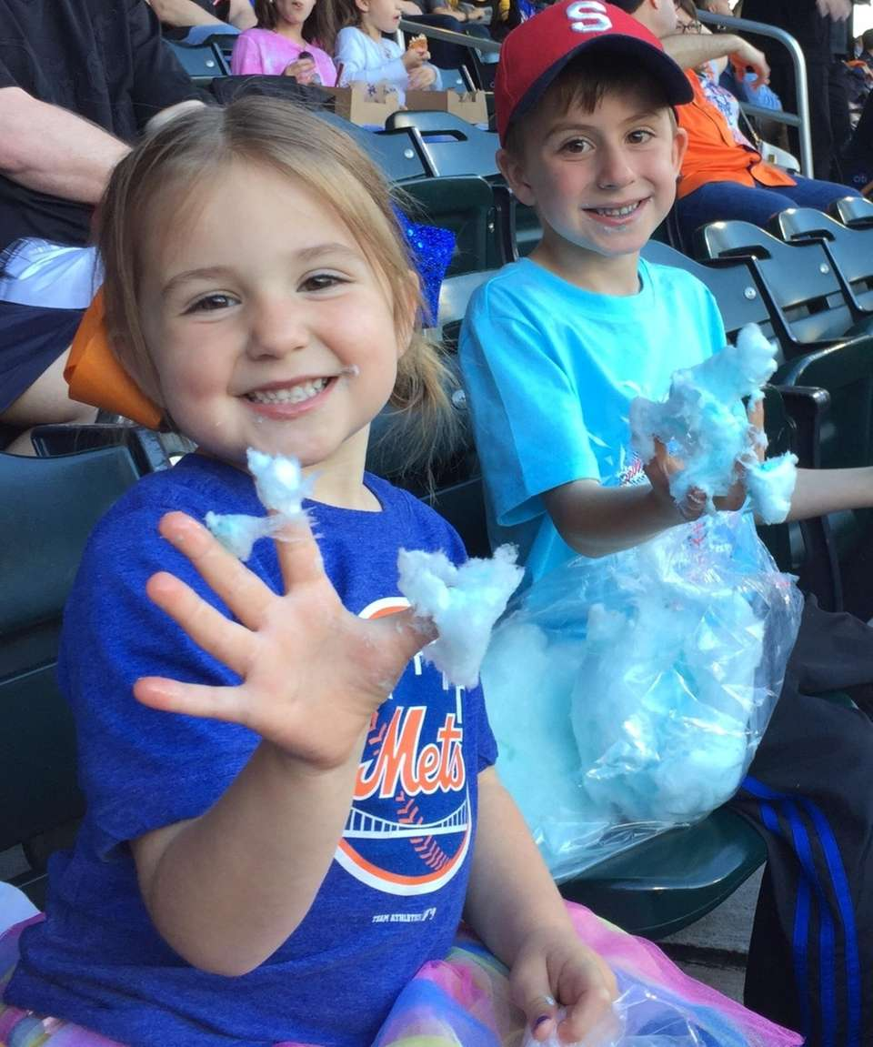 Loving our cotton candy and watching the METS!