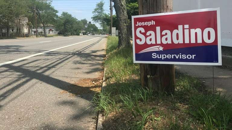 Campaign sign for Oyster Bay Supervisor Joseph Saladino