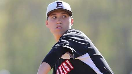 Half Hollow Hills East's Patch Dooley pitches against