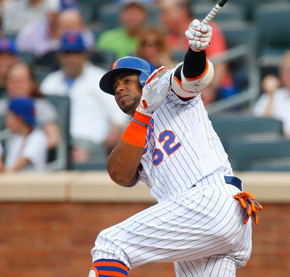 Yoenis Cespedes of the New York Mets follows
