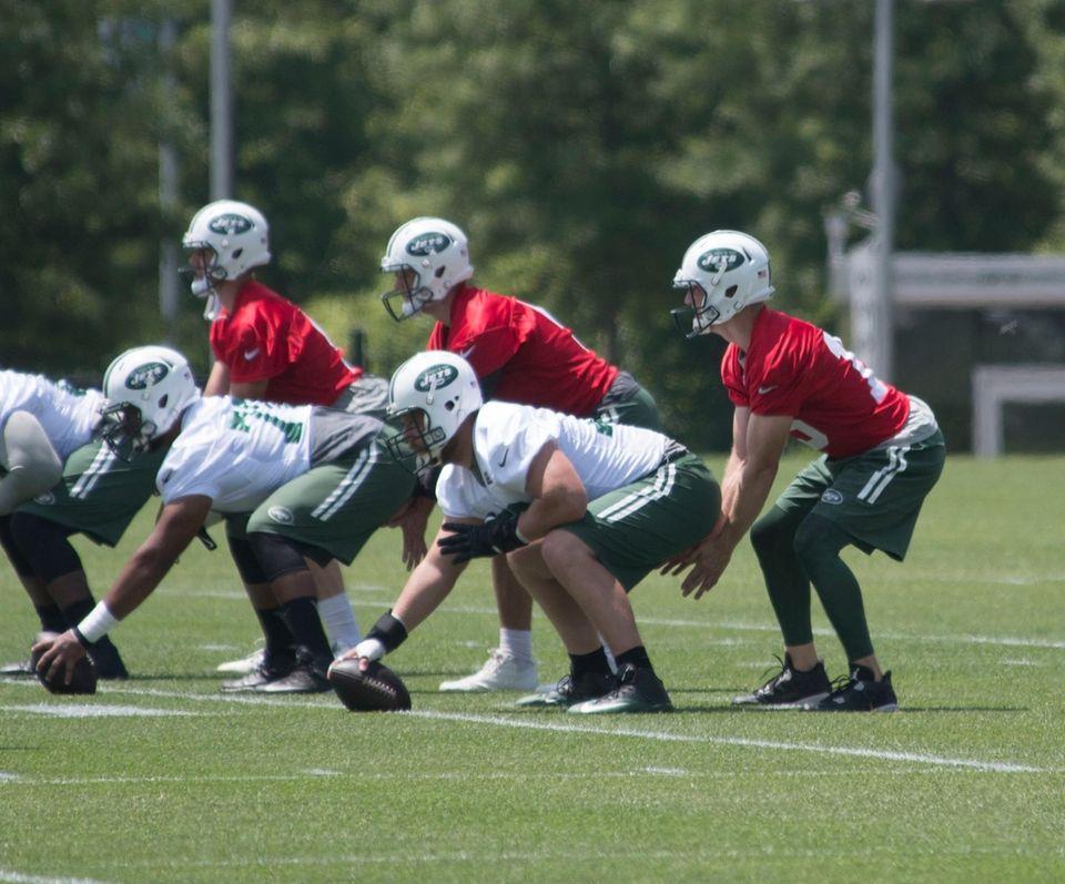 From left, Jets quarterbacks Bryce Petty, Christian Hackenberg