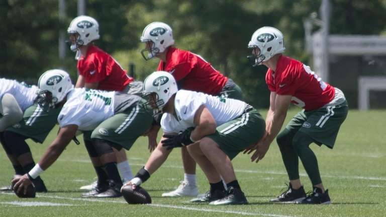 From left, Jets quarterbacks Bryce Petty, Christian Hackenberg