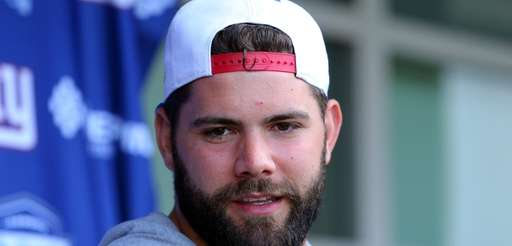 New York Giants guard Justin Pugh (67) speaks