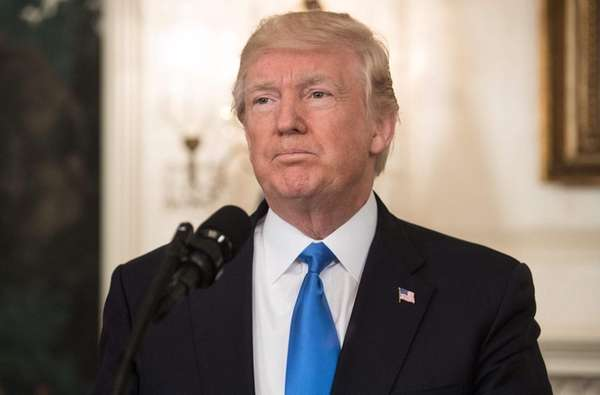 President Donald Trump delivers a statement on Wednesday,
