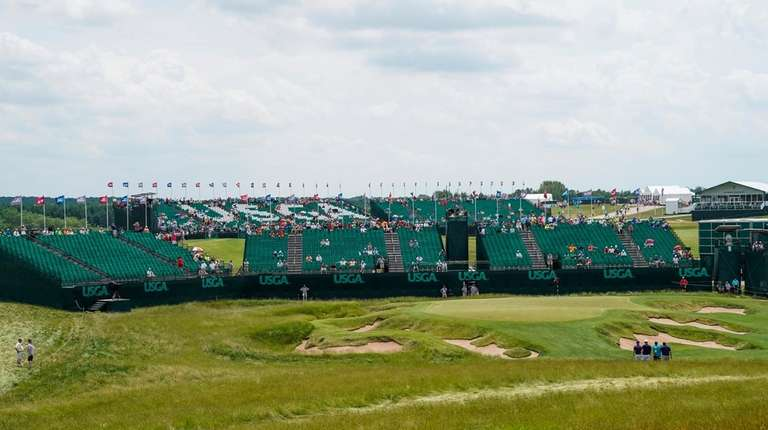 The ninth hole is seen during a practice