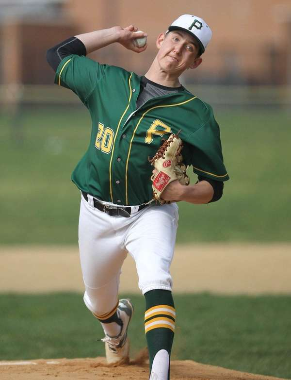Ward Melville's Ben Brown throws a pitch against