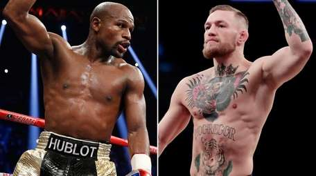 This composite image shows Floyd Mayweather Jr., left,