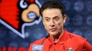 Louisville head coach Rick Pitino answers a question