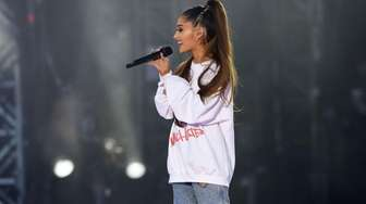 Ariana Grande performs at the One Love Manchester