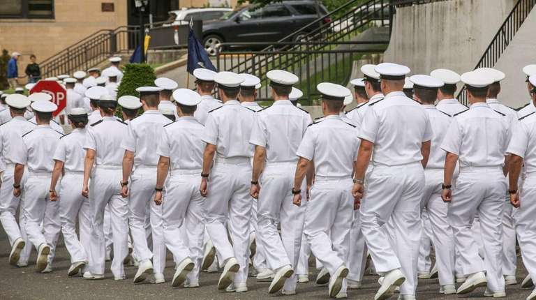 Cadets march at New York Fleet Week ceremony