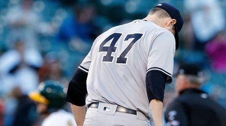 Jordan Montgomery of the New York Yankees kicks