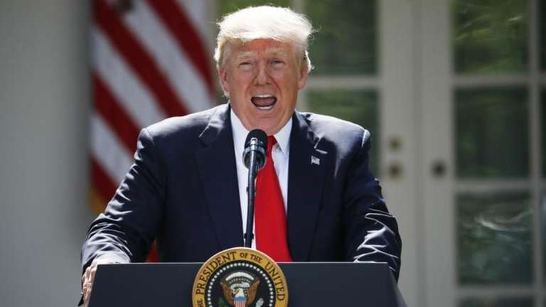 President Donald Trump speaks about the U.S. role