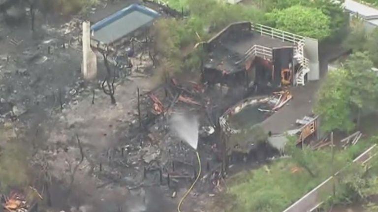 An overnight blaze on Fire Island damaged several