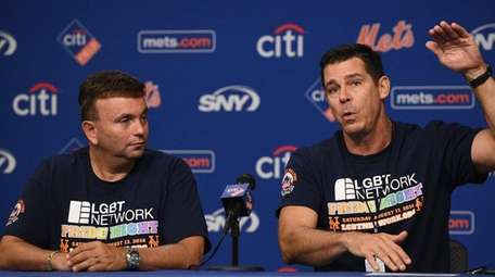 Billy Bean, right, and David Kilmnick speak at