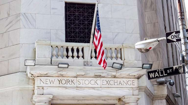 New York Stock Exchange with American flags and