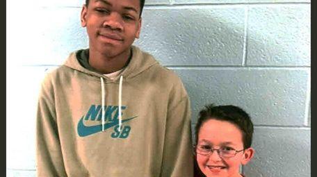 Kidsday reporter Jakai Lester, left, with classmate Sean
