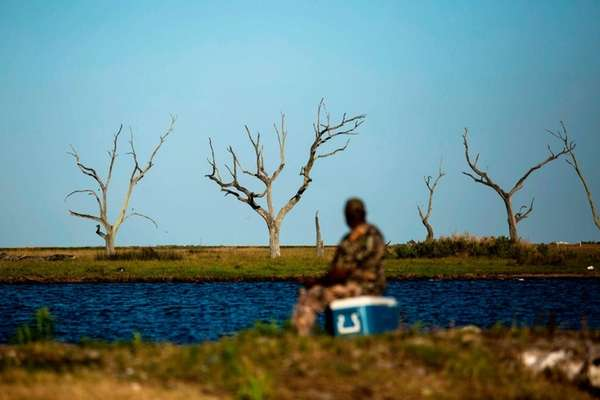 A fisherman near Isle de Jean Charles, where