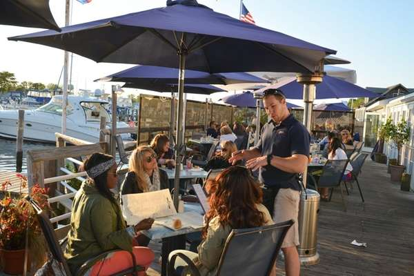 The waterfront deck at The Oar in Patchogue,