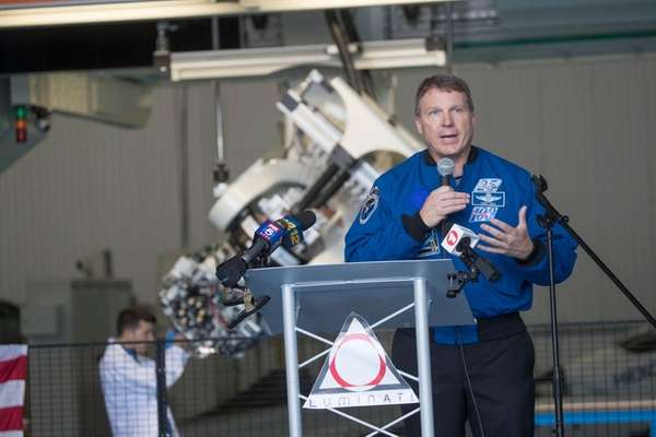 Former astronaut Terry Virts speaks during an open