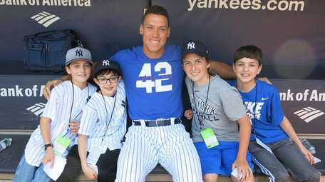 Outfielder Aaron Judge at Yankee Stadium with Kidsday